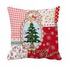 merry christmas tree customize grid flora cushion cover square pillow case sofa chair christmas