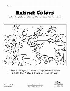 dinosaurs coloring by numbers worksheets 15350 dinosaurs color by numbers 1 10 worksheet dinosaur coloring color by numbers numbers preschool