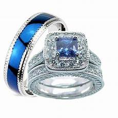 his and hers wedding rings 3 pc sapphire blue cz sterling silver ring ebay