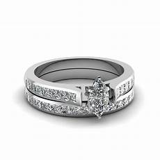 marquise cut channel diamond wedding ring sets in 14k