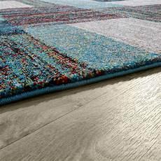 teppiche modern designer teppich blau meliert kurzflor modern kurzflor