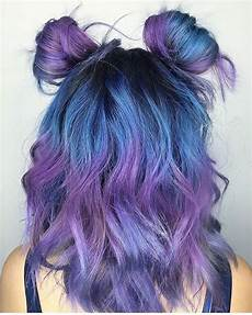 picture of blue to purple ombre hair with light waves
