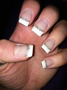 my next mani trip silver and white french tip nails