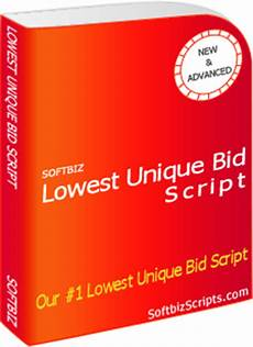 lowest unique bid lowest unique bid script 150 features unique bid