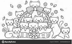 coloring pages 17539 dessin 233 chats mignons dans panier pour 201 l 233 ment conception page image vectorielle