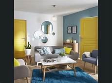 Salon Sejour Bleu Jaune Orange D 233 Coration Salon Jaune