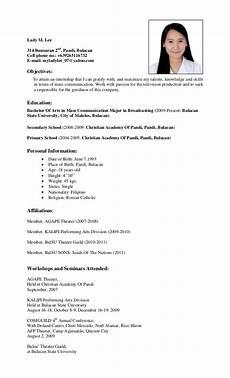 resume for ojt student resume masscomm