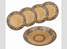 """As Is"" Lidia Bastianich Hand Painted 5pc Stoneware Pasta"