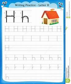 practice letter h worksheets 24499 writing practice letter h stock vector illustration of kindergarten 50726490