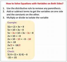 algebra worksheets variables on both sides 8615 solving equations with variables on both sides solutions exles lessons