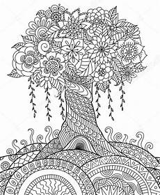 zentangle tree on a hill coloring pages