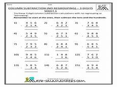 column subtraction no regrouping 3 digits sheet 1 worksheet for 2nd 4th grade lesson planet