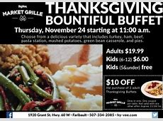 Thanksgiving Bountiful Buffet, Hy vee Market Grille