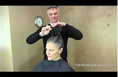 dramatic long hair cut short makeover by christopher long hair cut super short and reveal the gray by christopher hopkins the makeover guy