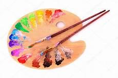 Palette D En Bois Avec Des Blobs De Peinture Et Un