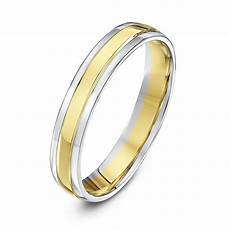 9kt white yellow gold court 4mm wedding ring