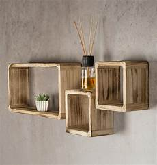 regale holz wandregal 3er set cube regal holz natur 16cm 21cm