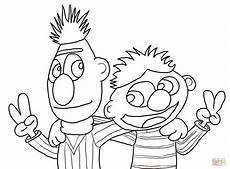 cool bert and ernie coloring page free printable