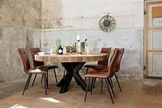 Table Design Industriel Pied Metal Acier Plateau Rond Bois
