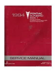 auto repair manual online 1990 pontiac sunbird instrument cluster 1994 pontiac sunbird factory service manual 2 volume set