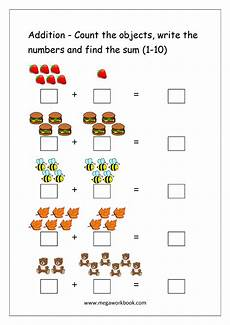 subtraction objects worksheets 10212 free printable number addition worksheets 1 10 for kindergarten and grade 1 addition on