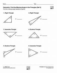 geometry angle worksheets pdf 617 geometry find the missing angle in the triangle set 3 childrens educational workbooks
