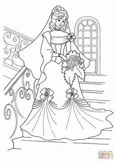 Malvorlage Prinzessin Hochzeit Princess And Wedding Dress Coloring Page
