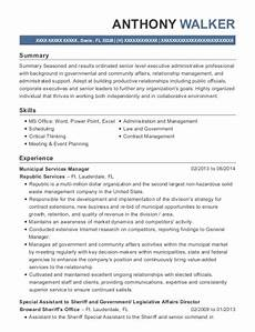 federal government special assistant resume sle