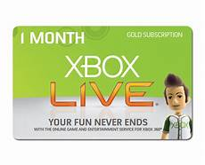 xbox 360 live 1 month subscription gold card xbox 360