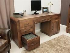 Schreibtisch Dunkles Holz - shiro solid walnut wood furniture large office pc