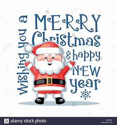 merry christmas and happy new year greeting card with funny santa claus white background