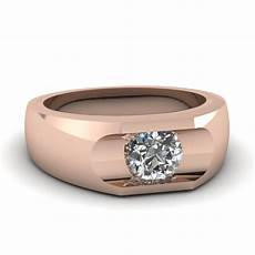 14k rose gold white diamond men s wedding ring