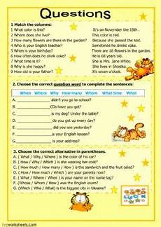 question words interactive worksheet