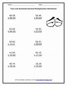 multiplication with decimals worksheets grade 5 7412 tens and hundreds decimal multiplication