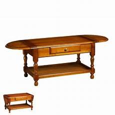 Table Basse 2 Abattants 1 Tiroir En Merisier Massif Style