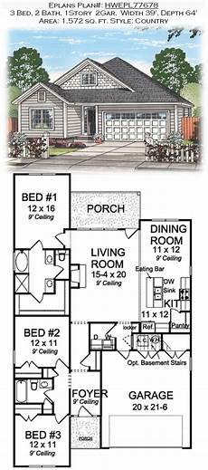 eplans house plans eplans plan hwepl77678 3 bed 2 bath 1story 2gar width