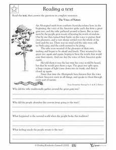 nature reading comprehension worksheets 15108 reading comprehension voice of nature worksheet for 4th grade lesson planet
