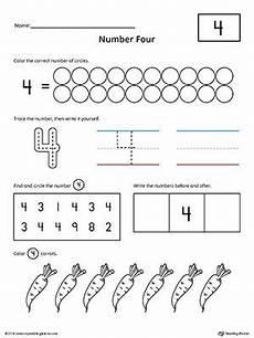number 4 practice worksheet writing numbers printable