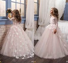 aliexpress com buy blush pink long sleeve flower girl dresses for wedding 3d flowers ball gown