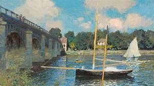 Artwork Claude Monet Painting Bridge River France