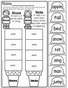nouns and verbs cut and paste nouns verbs nouns verbs kindergarten worksheets