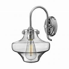 chrome wall light with schoolhouse style glass shade in vintage styling