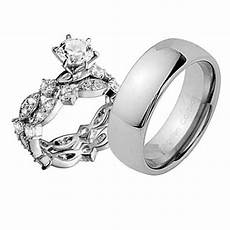 mens womens estated sterling silver tungsten cz engagement wedding 3pcs ring ebay
