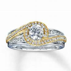 designer white and yellow gold diamond engagement
