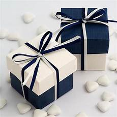 diy two tone boxes in white navy silk uk wedding favours