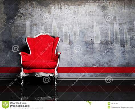 Poltrona Rossa Similpelle : Scena Di Disegno Interno Con Una Retro Poltrona Rossa