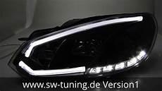 Sw Drltube Scheinwerfer Vw Golf 6 Led Lightbar Tfl Black