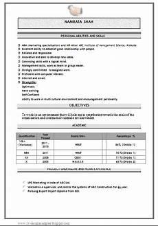 resume format for a fresher mba fresher mba resume