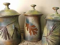 pottery kitchen canisters cannister set lidded jars kitchen cannisters with tree