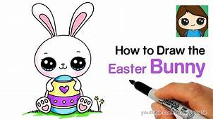 How To Draw A Cute Easter Bunny Easy  YouTube